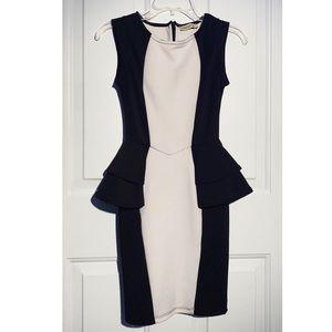 Black & White Peplum Dress, Sz XS